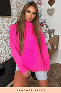 BROOKLYN PINK CHUNKY KNIT JUMPER DRESS