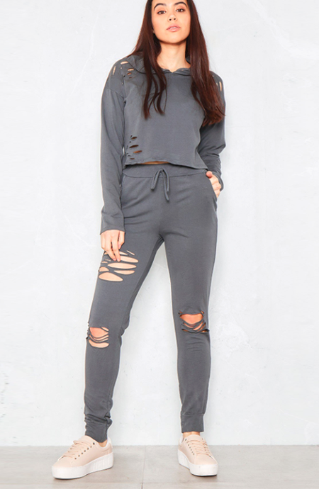 VIP NICOLE GREY DISTRESSED LOUNGEWEAR SET