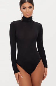 BLACK LONG SLEEVE TURTLE NECK BODYSUIT