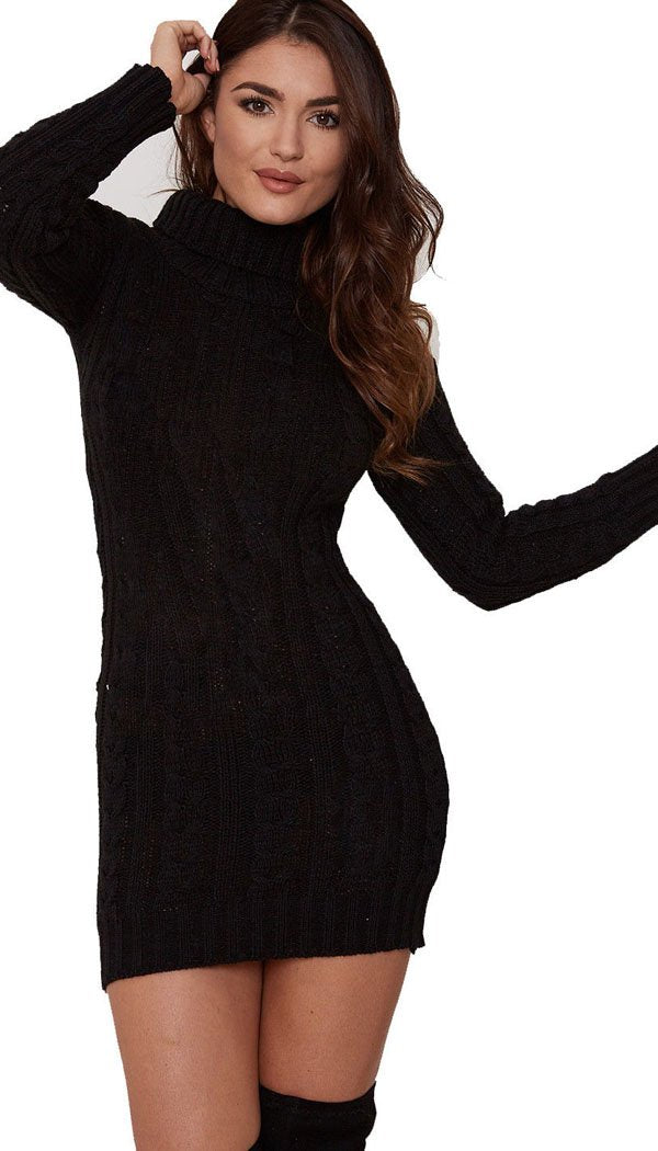 Andrea Black Cable Knit Jumper Dress Needthatstyle