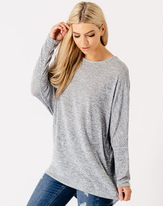 SOPHIA GREY BATWING DIPPED HEM TOP