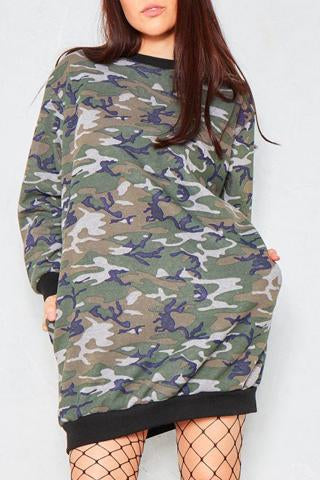 JULIA 'ARMY CAMO' PRINT OVERSIZED JUMPER DRESS