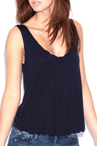 EVE BLACK SCALLOPED VEST TOP