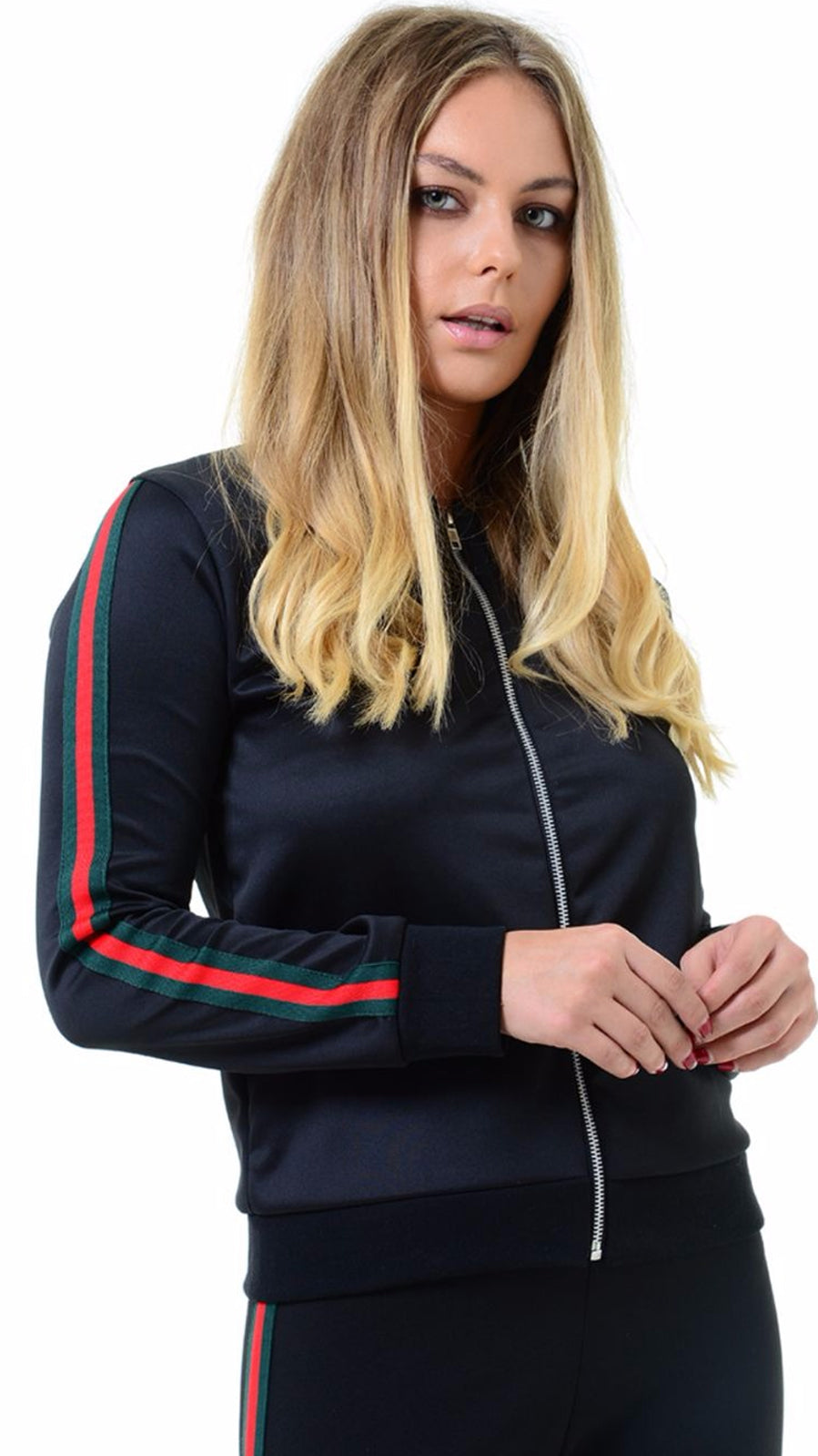 LUCY BLACK BOMBER JACKET WITH SPORT STRIPE DETAIL.