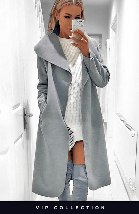 FRANCESCA CHARCOAL BELTED WATERFALL COAT