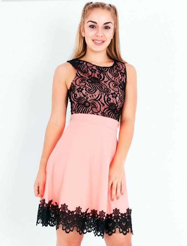SCARLET CORAL AND BLACK LACE SKATER DRESS