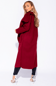 FRANCESCA WINE BELTED WATERFALL COAT