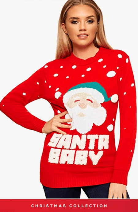 RED SANTA BABY CHRISTMAS JUMPER