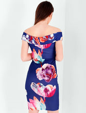 DAKOTA NAVY AND FLORAL BARDOT BODYCON DRESS
