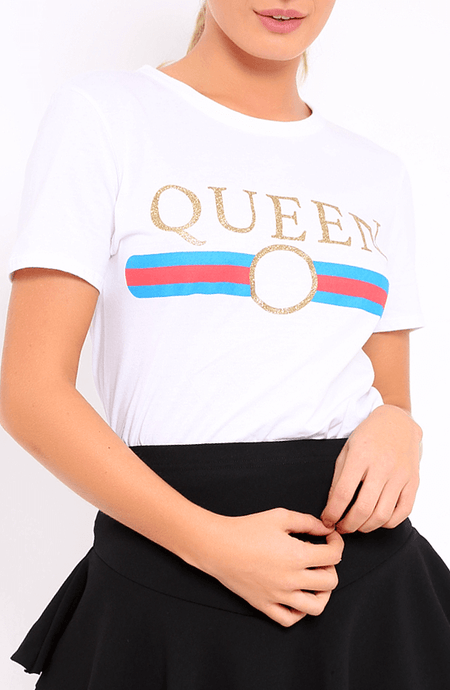 LIBBY 'QUEEN' STATEMENT T-SHIRT (WHITE)