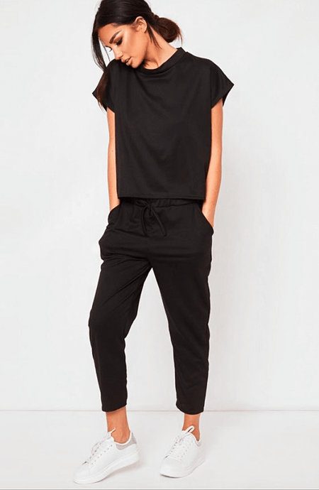 MARIAH BLACK BOXIE LOUNGEWEAR SET