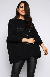 KYLEE BLACK BATWING OVERSIZED KNIT JUMPER