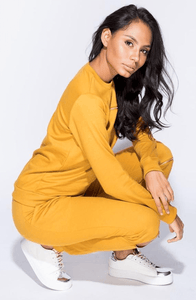 RHIA MUSTARD ZIP SWEATSHIRT & JOGGERS CO-ORD SET