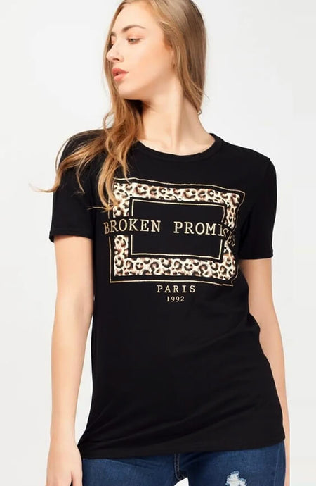 BLACK BROKEN PROMISES SLOGAN T-SHIRT