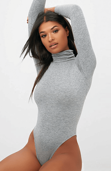 GREY LONG SLEEVE TURTLE NECK BODYSUIT