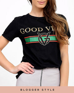 ERICA 'GOOD VIBES' BLACK & GOLD PRINT T-SHIRT