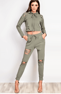 VIP NICOLE KHAKI DISTRESSED HOODED SWEATSHIRT & JOGGERS SET