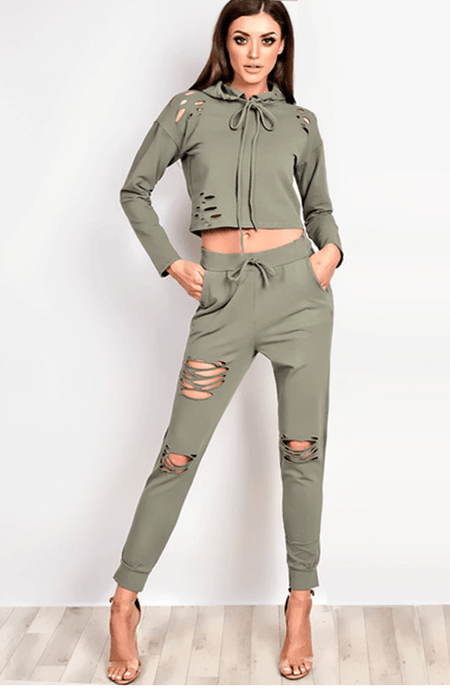 VIP NICOLE KHAKI DISTRESSED LOUNGEWEAR SET