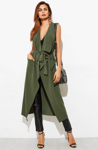 IMOGEN KHAKI TWO POCKET LONGLINE WATERFALL WAIST COAT