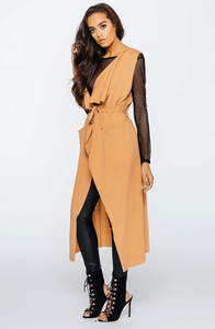 IMOGEN CAMEL TWO POCKET LONGLINE WATERFALL WAISTCOAT