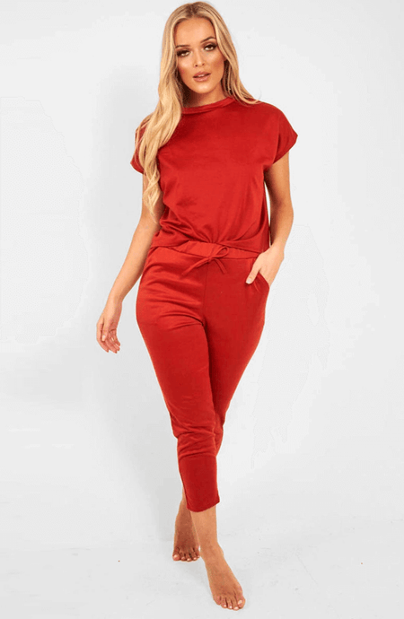 MARIAH CHILLI RED BOXIE LOUNGEWEAR SET