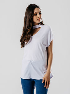 DANI WHITE CHOKER CAP SLEEVE TOP