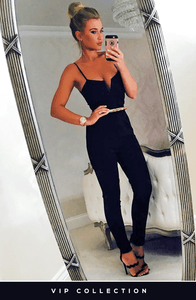 VIP BILLIE BLACK & GOLD BELTED JUMPSUIT