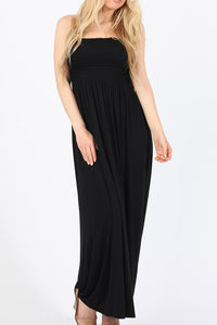 JADE BLACK BANDEAU MAXI DRESS.