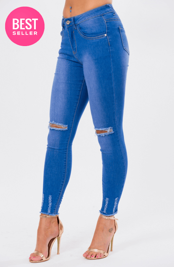 BOBBI BLUE DISTRESSED DENIM SKINNY JEANS