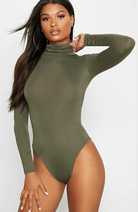 KHAKI LONG SLEEVE TURTLE NECK BODYSUIT