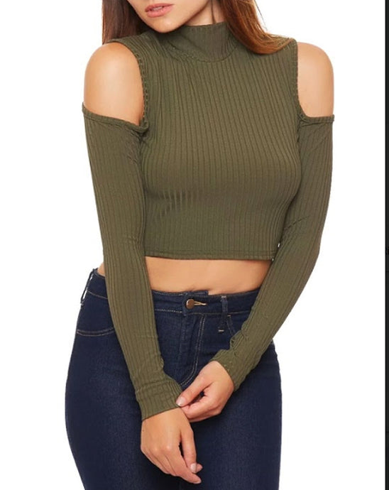 ABIGAIL KHAKI COLD SHOULDER LONG SLEEVE TOP