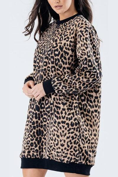 Leopard Print Oversized Jumper Dress