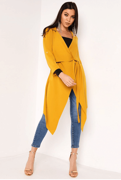ADELE MUSTARD YELLOW WATERFALL COAT