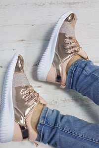 Megan Champagne Foil Effect Lace Up Trainers