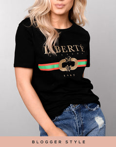 ALICIA BLACK LIBERTE' (Freedom) STATEMENT T-SHIRT