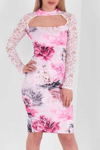 LAUREN KEYHOLE PINK FLORAL LACE BODY CON DRESS