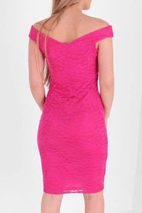 RHIANNA FUCSHIA LACE OVERLAY  BARDOT  BODY CON DRESS