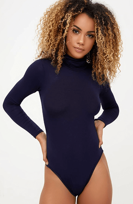NAVY LONG SLEEVE TURTLE NECK BODYSUIT
