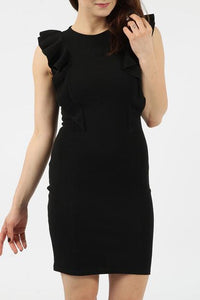 NICOLA BLACK FRILL BODYCON DRESS