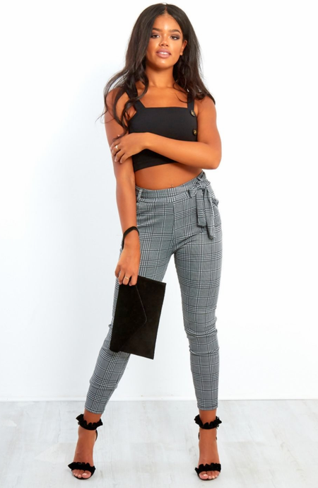 EVIE BLACK GINGHAM BELTED CIGARETTE TROUSERS
