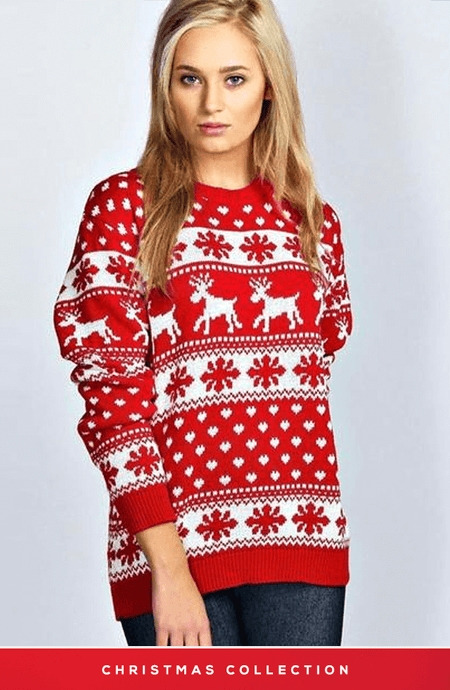 HADLEY RED AND WHITE SNOWFLAKES CHRISTMAS JUMPER