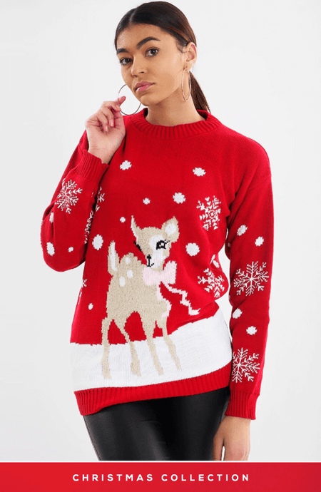 RED & PINK BABY DEER CHRISTMAS JUMPER