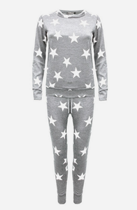 KIDS STYLISH COURTNEY JUNIOR GREY STAR LOUNGEWEAR SET