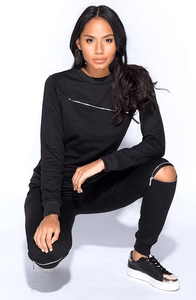 RHIA BLACK ZIP SWEATSHIRT & JOGGERS CO-ORD SET