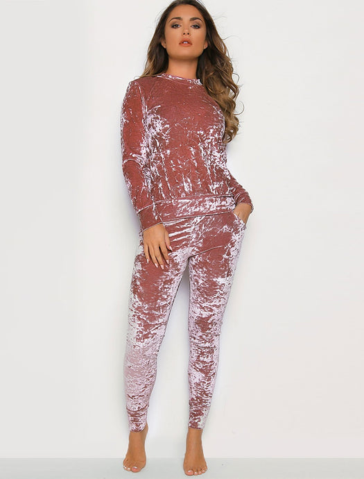 IZZIE PINK CRUSHED VELVET LOUNGEWEAR CO-ORD SET