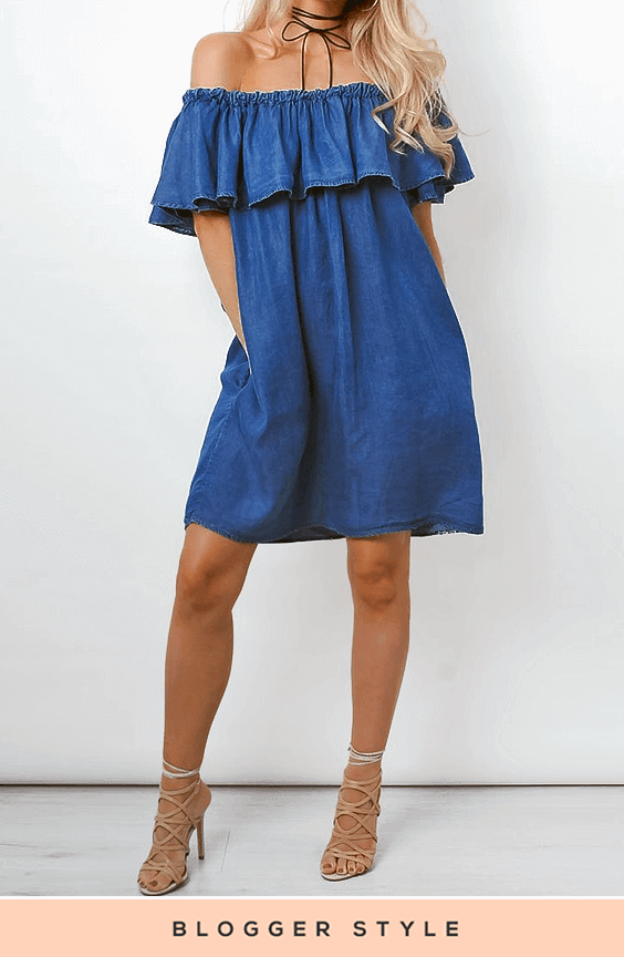 LUCIANA DARK DENIM FRILL DRESS