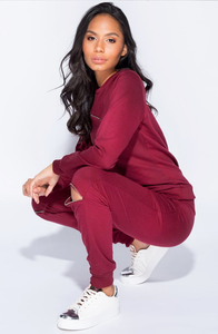 RHIA WINE ZIP SWEATSHIRT & JOGGERS CO-ORD SET