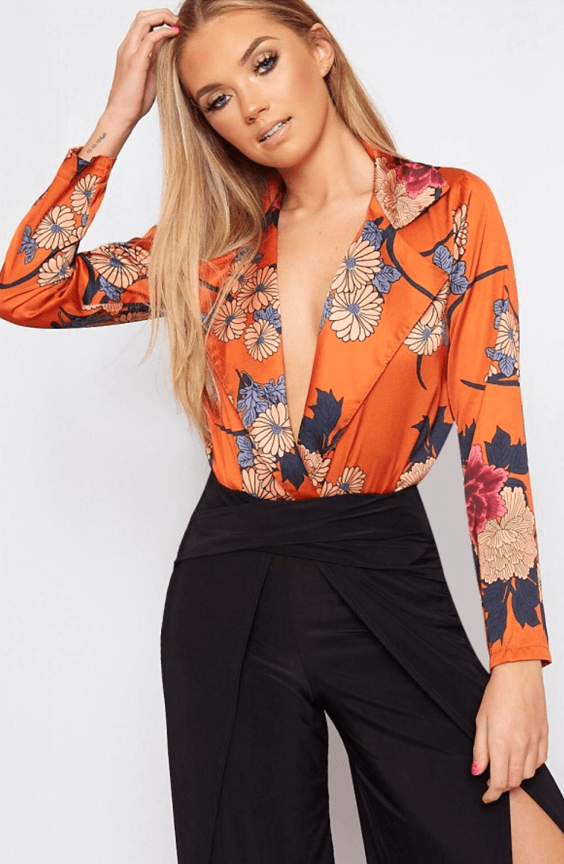GABRIELLE SUNSET ORANGE FLORAL WRAP LUXE BODYSUIT