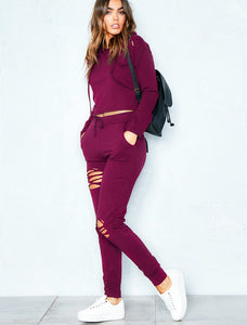 VIP NICOLE WINE DISTRESSED LOUNGEWEAR SET