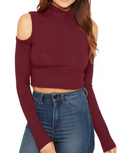 ABIGAIL WINE COLD SHOULDER LONG SLEEVE TOP